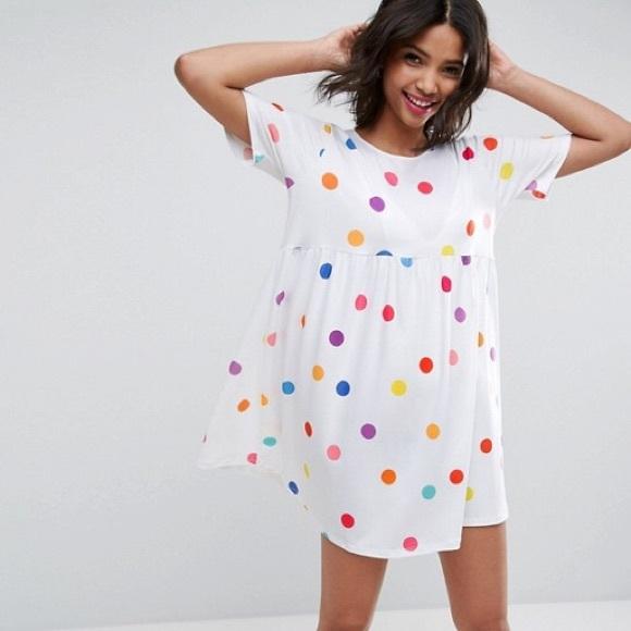 c9b3dc324c6a2 ASOS Dresses & Skirts - ASOS Ultimate smock dress colorful dot NWOT
